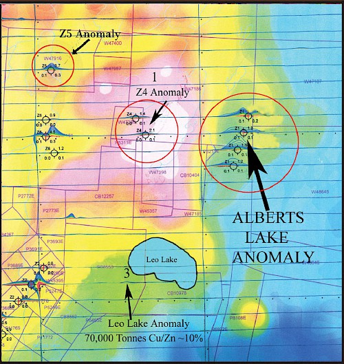 VTEM Airborne Electromagnetic Anomalies -- Leo Lake Alberts Area. The Alberts Lake and Aimee Anomalies as well as the Z4 and Z5 anomalies remain untested
