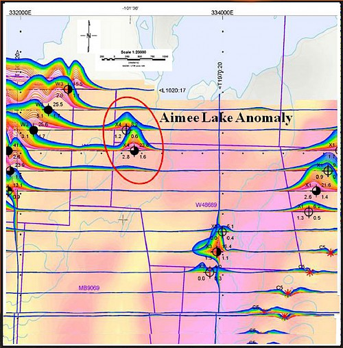 VTEM Airborne Electromagnetic Anomalies : Aimee Lake - north of Alberts Lake