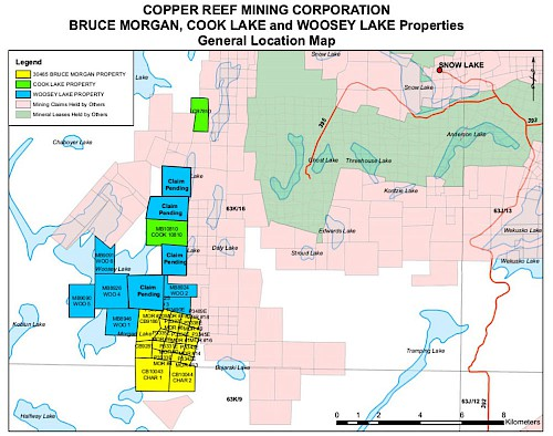 Figure 2: Claim Location Map for the Bruce Morgan Property (yellow), the Woosey Lake Property (blue) and the Cook Property (green)