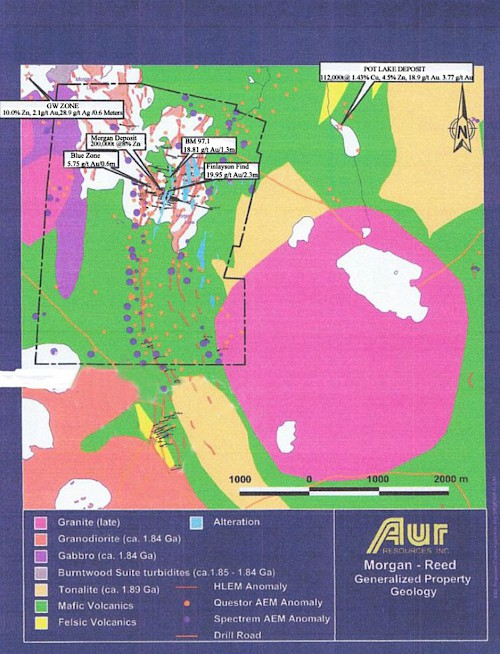 Figure 6: Plan Map of the Morgan Lake Property from Aur Resources
