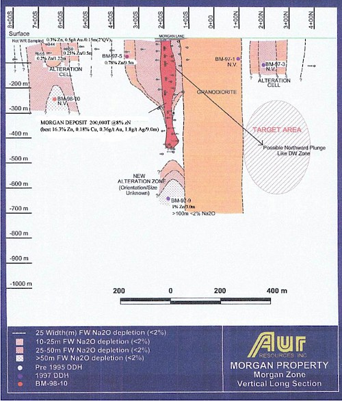 Figure 7: Vertical Long Section, Morgan Lake Deposit: from Aur Resources